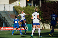Seattle, Washington - Saturday, July 2nd, 2016: Boston Breakers midfielder Louise Schillgard (10) goes up for a header during a regular season National Women's Soccer League (NWSL) match between the Seattle Reign FC and the Boston Breakers at Memorial Stadium. Seattle won 2-0.