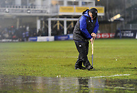 Groundsmen tend to the pitch at half-time. Anglo-Welsh Cup Semi Final, between Bath Rugby and Northampton Saints on March 9, 2018 at the Recreation Ground in Bath, England. Photo by: Patrick Khachfe / Onside Images