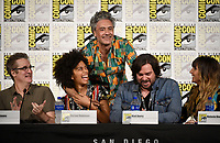 FX FEARLESS FORUM AT SAN DIEGO COMIC-CON© 2019: L-R: Executive Producer Paul Simms, Writer/Co-Executive Producer Stefani Robinson and Writer/Producer/Cast Member Taika Waititi, Cast Members Matt Berry and Natasia Demetriou during the WHAT WE DO IN THE SHADOWS panel on Saturday, July 20 at SAN DIEGO COMIC-CON© 2019. CR: Frank Micelotta/FX/PictureGroup © 2019 FX Networks
