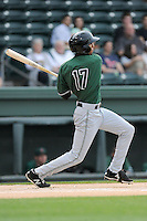 Center fielder Johneshwy Fargas (17) of the Augusta GreenJackets bats in a game against the Greenville Drive on Opening Day, Thursday, April 9, 2015, at Fluor Field at the West End in Greenville, South Carolina. Greenville won, 3-2. (Tom Priddy/Four Seam Images)