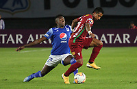 BOGOTÁ - COLOMBIA, 06-02-2020: Hansel Zapata de Millonarios  disputa el balón con Kevin  Romay de Always Ready  durante partido entre Millonarios de Colombia y Always Ready  de Bolivia por la primera fase, ida, de la Copa CONMEBOL Sudamericana 2020 jugado en el estadio Nemesio Camacho El Campín  de la ciudad de Bogotá. /Hansel Zapata of Millonarios  vies for the ball with Kevin  Romay of Aways Ready  during match between Millonarios  of Colombia and Always Ready  of Bolivia for the first phase as part of Copa CONMEBOL Sudamericana 2020 played at Nemesio Camacho El Campin stadium of Bogota city. Photo: VizzorImage / Felipe Caicedo / Staff