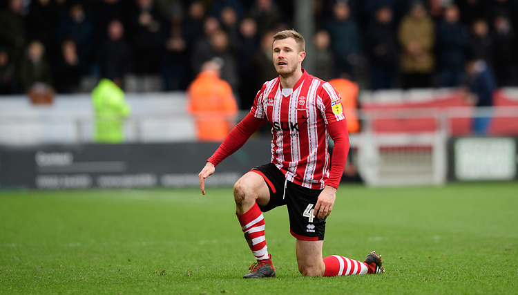 Lincoln City's Michael O'Connor<br /> <br /> Photographer Chris Vaughan/CameraSport<br /> <br /> The EFL Sky Bet League Two - Lincoln City v Grimsby Town - Saturday 19 January 2019 - Sincil Bank - Lincoln<br /> <br /> World Copyright © 2019 CameraSport. All rights reserved. 43 Linden Ave. Countesthorpe. Leicester. England. LE8 5PG - Tel: +44 (0) 116 277 4147 - admin@camerasport.com - www.camerasport.com