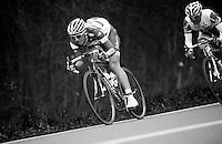 Liege-Bastogne-Liege 2012.98th edition..Gaetan Bille leading the pack
