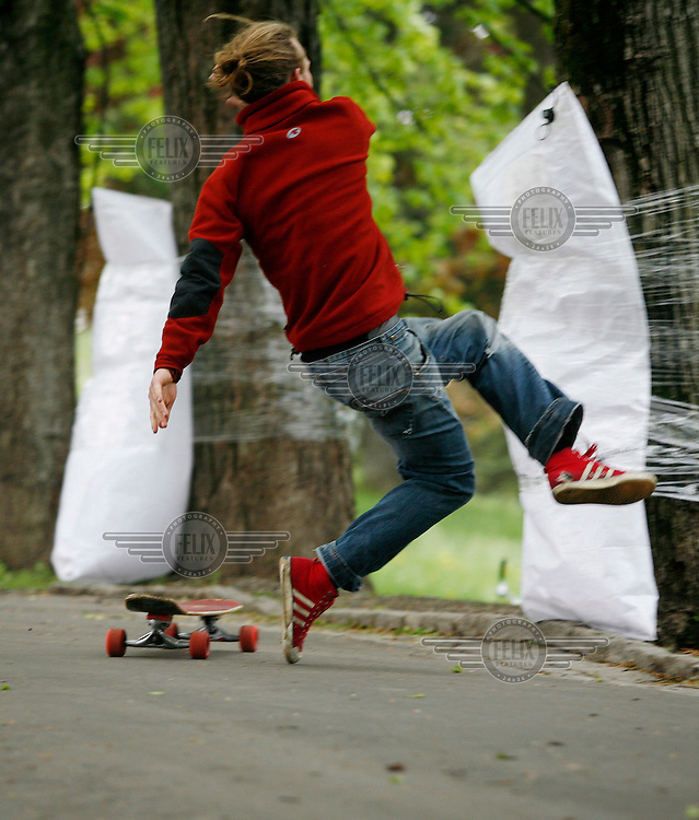 Longboard competition in a park, St.Hanshaugen, in central Oslo. Most participants crashed at one point or another.