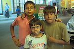 Boys in the Paharganj district of New Delhi, India.
