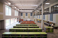 NWA Democrat-Gazette/BEN GOFF @NWABENGOFF<br /> A view of the library Friday, Aug. 11, 2017, during a grand opening for Osage Creek Elementary School and Creekside Middle School in Bentonville. The new schools will welcome their first students Monday.