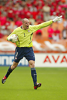 Brad Friedel directs his defense. The USA tied South Korea, 1-1, during the FIFA World Cup 2002 in Daegu, Korea.
