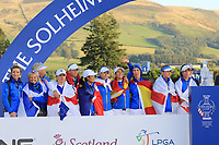 Team Europe at the award ceremony of the Solheim Cup 2019, Gleneagles Golf CLub, Auchterarder, Perthshire, Scotland. 15/09/2019.<br /> Picture Thos Caffrey / Golffile.ie<br /> <br /> All photo usage must carry mandatory copyright credit (© Golffile | Thos Caffrey)