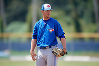 Toronto Blue Jays relief pitcher Matt Shannon (43) looks in for the sign during a Florida Instructional League game against the Pittsburgh Pirates on September 20, 2018 at the Englebert Complex in Dunedin, Florida.  (Mike Janes/Four Seam Images)