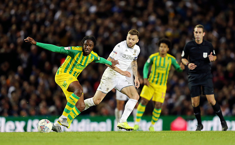 West Bromwich Albion's Romaine Sawyers holds off the challenge from Leeds United's Stuart Dallas<br /> <br /> Photographer Rich Linley/CameraSport<br /> <br /> The EFL Sky Bet Championship - Tuesday 1st October 2019  - Leeds United v West Bromwich Albion - Elland Road - Leeds<br /> <br /> World Copyright © 2019 CameraSport. All rights reserved. 43 Linden Ave. Countesthorpe. Leicester. England. LE8 5PG - Tel: +44 (0) 116 277 4147 - admin@camerasport.com - www.camerasport.com