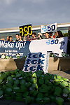 Climate activists demonstrate in front of the Barcelona Climate talks on the opening day of the Conference. Holding alarm clocks the diverse group of activists are calling on countries and negotiators to Wake UP! and get to work and produce a strong agreement in Copenhagen. With only 5 days of negotiations left until Copenhagen, the clock is tcktcktcking.(©Robert vanWaarden ALL RIGHTS RESERVED)