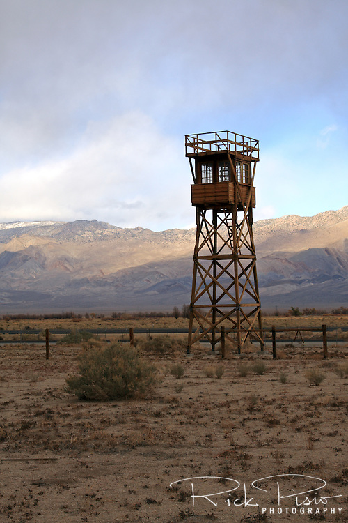 Guard tower at the Manzanar National Historic Site in California's Owens Valley. Manzanar was the first of 10 relocation camps to be established after the attack on Pearl Harbor and held 10,046 prisoners at it's peak.