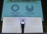 April 25, 2016, Tokyo, Japan - Designer Asao Tokolo proudly shows off  his winning designs, now the official emblems for the 2020 Tokyo Olympics and Paralympics,in Tokyo on Monday, April 25, 2016.  (Photo by Natsuki Sakai/AFLO) AYF -mis-