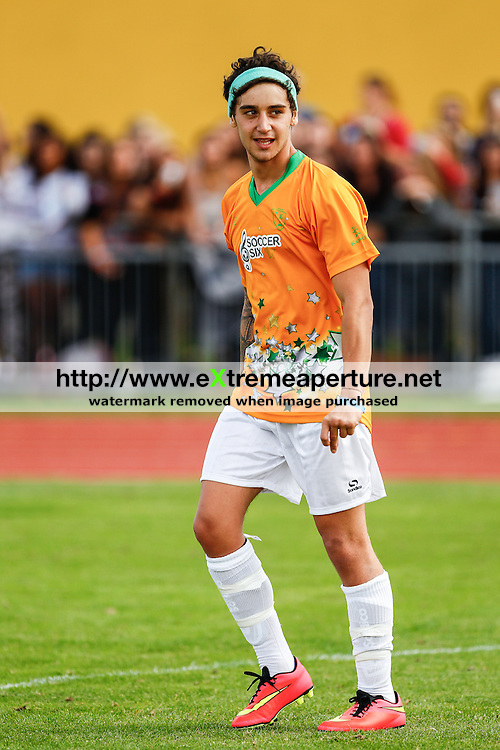 London, UK on Sunday 31st August, 2014. Luke Brooks of The Janoskians during the Soccer Six charity celebrity football tournament at Mile End Stadium, London.