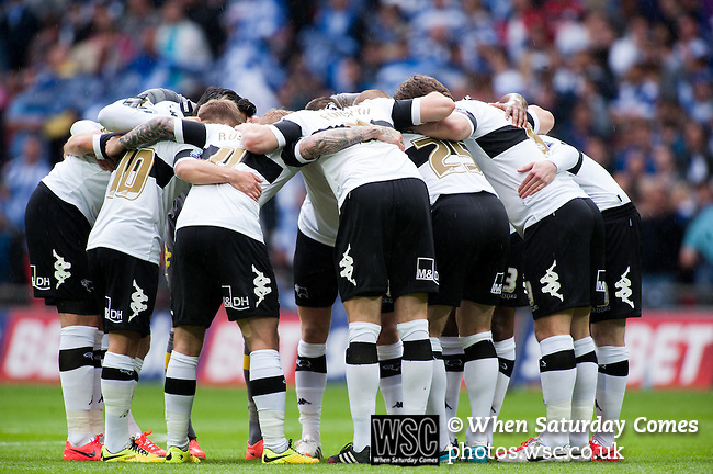 Queens Park Rangers 1 Derby County 0, 24/05/2014. Wembley Stadium, Championship Play Off Final. Derby County team huddle ahead of the Championship Play-Off Final between Queens Park Rangers and Derby County from Wembley Stadium. Queens Park Rangers won the game 1-0 to gain promotion to the Premier League.  Photo by Simon Gill.