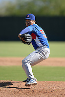 Chicago Cubs pitcher Jen-Ho Tseng (57) during an Instructional League game against the Oakland Athletics on October 16, 2013 at Papago Park Baseball Complex in Phoenix, Arizona.  (Mike Janes/Four Seam Images)