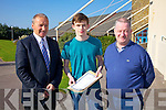 Top marks for Cian Walsh in Colaiste na Sceilge achieving 8A's & 2B's in his Junior Cert results on Wednesday pictured here l-r; John O'Connor(Principal), Cian & Dermot Walsh.
