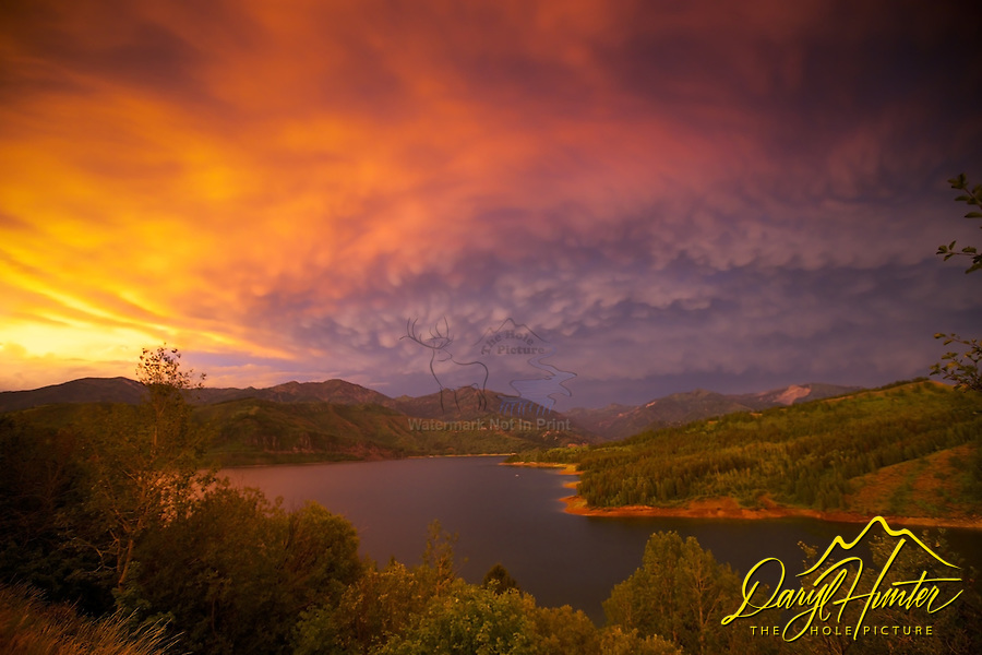 Thunder Storm sunset, mammatus clouds, Palisades Reservoir, Snake River Range, Swan Valley, Idaho