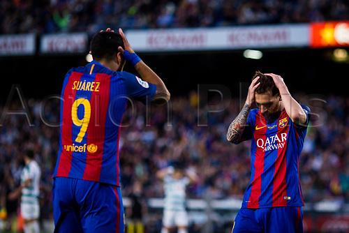 May 21st 2017, Nou Camp, Barcelona, Spain; La Liga football, FC Barcelona versus Eibar; Luis Suarez and Lional Messi of FC Barcelona frustrated to miss the goal