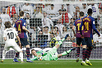 (L-R) Real Madrid CF's Luka Modric and FC Barcelona's Ivan Rakitic, Marc-Andre Ter Stegen, Clement Lenglet and Ousmane Dembele during the King's Cup semifinals match. February 27,2019. (ALTERPHOTOS/Alconada)