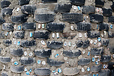 USA; New Mexico; Taos; Earthships community 13 miles West of Taos on Hwy 64, wall detail