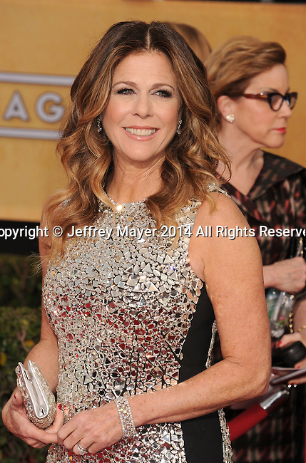 LOS ANGELES, CA- JANUARY 18: Actress Rita Wilson arrives at the 20th Annual Screen Actors Guild Awards at The Shrine Auditorium on January 18, 2014 in Los Angeles, California.