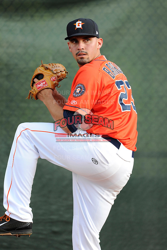 Pitcher Agapito Barrios (23) of the Greeneville Astros warms up before a game against the Bristol Pirates on Friday, July 25, 2014, at Pioneer Park in Greeneville, Tennessee. Greeneville won, 9-4. (Tom Priddy/Four Seam Images)