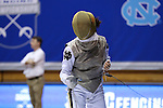DURHAM, NC - FEBRUARY 25: Duke's Lee Kiefer during her Women's Foil semifinal match. The Atlantic Coast Conference Fencing Championships were held on February, 25, 2017, at Cameron Indoor Stadium in Durham, NC.