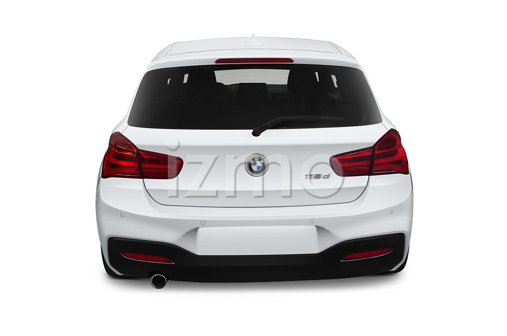 Straight rear view of a 2018 BMW 1 Series M Sport Ultimate 3 Door Hatchback stock images