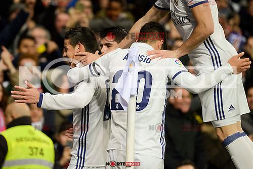 Real Madrid's Marco Asensio, Alvaro Morata and Marco Asensio during Copa del Rey match between Real Madrid and Sevilla FC at Santiago Bernabeu Stadium in Madrid, Spain. January 04, 2017. (ALTERPHOTOS/BorjaB.Hojas) NortePhoto.com