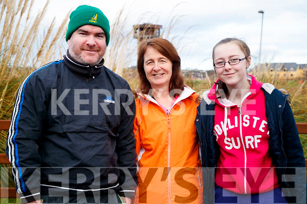 Clive O'Callaghan (Tralee) with Nora Curran and Emer Curran (Ballymac), pictured at the Operation Transformation Walk at Tralee Bay Wetlands on Saturday morning last.
