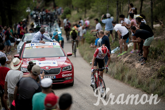 Carl Fredrik Hagen (NOR/Lotto-Soudal) up the steepest part of the brutal Mas de la Costa: the final climb towards the finish<br /> <br /> Stage 7: Onda to Mas de la Costa (183km)<br /> La Vuelta 2019<br /> <br /> ©kramon