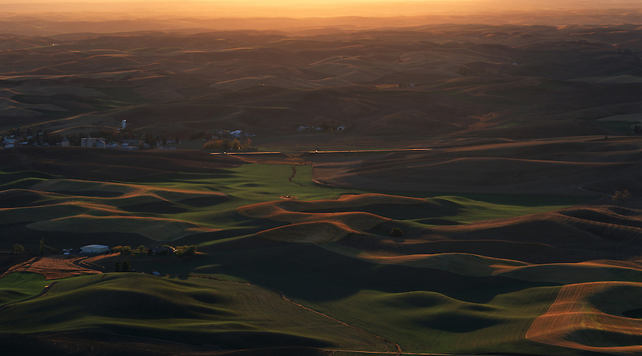 A very warm sunset during a dusty day on the Palouse as seen from Steptoe Butte in Eastern Washington State.