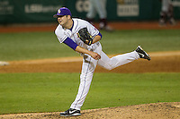 LSU Tigers pitcher Jake Godfrey (29) follows through during a Southeastern Conference baseball game against the Texas A&M Aggies on April 23, 2015 at Alex Box Stadium in Baton Rouge, Louisiana. LSU defeated Texas A&M 4-3. (Andrew Woolley/Four Seam Images)