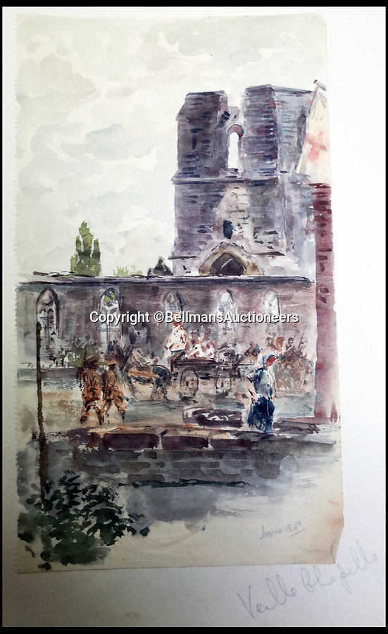 BNPS.co.uk (01202 558833)<br /> Pic: BellmansAuctioneers/BNPS<br /> <br /> Vielle Chapelle in June 1916 - after shelling.<br /> <br /> A collection of beautiful First War watercolours that offer a fascinating glimpse into one man's life in the trenches has emerged for sale a century later.<br /> <br /> Talented artist Finlay Mackinnon, who exhibited multiple times at the prestigious Royal Academy, answered the call to sign up in 1914 and spent almost all of the First World War fighting in France.<br /> <br /> But in his free time on the front he did what he loved best, capturing life in the trenches and also the beauty of their bleak surroundings in his pictures.<br /> <br /> Bellmans Auctioneers, who are selling the album of artwork, know little about the provenance of the album, which is expected to fetch £4,000 at auction.