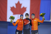 SPEED SKATING: CALGARY: Olympic Oval, 08-03-2015, ISU World Championships Allround, podium 5000m Ladies, Linda de Vries (NED), Martina Sábliková (CZE), Ireen Wüst (NED), ©foto Martin de Jong