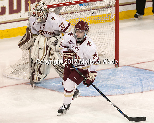 Katie Burt (BC - 33), Caroline Ross (BC - 25) - The number one seeded Boston College Eagles defeated the eight seeded Merrimack College Warriors 1-0 to sweep their Hockey East quarterfinal series on Friday, February 24, 2017, at Kelley Rink in Conte Forum in Chestnut Hill, Massachusetts.The number one seeded Boston College Eagles defeated the eight seeded Merrimack College Warriors 1-0 to sweep their Hockey East quarterfinal series on Friday, February 24, 2017, at Kelley Rink in Conte Forum in Chestnut Hill, Massachusetts.