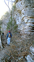 NWA Democrat-Gazette/FLIP PUTTHOFF<br /> Buffalo River Trail hugs bluffs high above the river Jan. 19 2018 on a hike from Ponca to Steel Creek. An out-and-back hike from Ponca covers four miles.