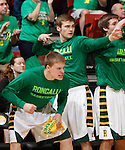 RAPID CITY, S.D. MARCH 20, 2015 -- Players on the Aberdeen Roncalli bench celebrate a basket against Little Wound during their semi-final game at the 2015 South Dakota State A Boys Basketball Tournament at the Don Barnett Arena in Rapid City, S.D.  (Photo by Dick Carlson/Inertia)