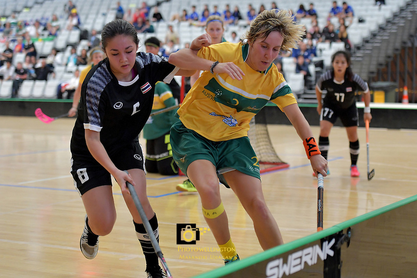 Australia&rsquo;s Ashlegh Bourke and Thailand&rsquo;s Nelly Johanssan in action during the World Floorball Championships 2017 Qualification for Asia-Oceania Region - Thailand v Australia at ASB Sports Centre , Wellington, New Zealand on Wednesday 31 January 2017.<br /> Photo by Masanori Udagawa<br /> www.photowellington.photoshelter.com.