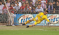 Jon Busch realizes he missed the save. The San Jose Earthquakes defeated Chivas USA 6-5 in shootout after drawing 0-0 in regulation time to win the inagural Sacramento Cup at Raley Field in Sacramento, California on June 12, 2010.