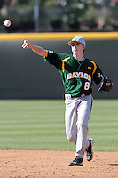 Lawton Langford #8 of the Baylor Bears makes a throw against the UCLA Bruins at Jackie Robinson Stadium on February 25, 2012 in Los Angeles,California. UCLA defeated Baylor 9-3.(Larry Goren/Four Seam Images)