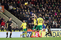 Shaun Hutchinson of Millwall beats Nelson Oliveira of Norwich City to the aerial ball during Norwich City vs Millwall, Sky Bet EFL Championship Football at Carrow Road on 1st January 2018