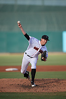 Jupiter Hammerheads starting pitcher Dustin Beggs (13) delivers a pitch during a game against the Palm Beach Cardinals on August 4, 2018 at Roger Dean Chevrolet Stadium in Jupiter, Florida.  Palm Beach defeated Jupiter 7-6.  (Mike Janes/Four Seam Images)