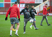 Lincoln City's Tayo Edun during the pre-match warm-up<br /> <br /> Photographer Andrew Vaughan/CameraSport<br /> <br /> The EFL Sky Bet League One - Accrington Stanley v Lincoln City - Saturday 15th February 2020 - Crown Ground - Accrington<br /> <br /> World Copyright © 2020 CameraSport. All rights reserved. 43 Linden Ave. Countesthorpe. Leicester. England. LE8 5PG - Tel: +44 (0) 116 277 4147 - admin@camerasport.com - www.camerasport.com