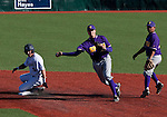 March 7, 2012: San Francisco State Gators shortstop Sam Wilkins throws to first to complete a double play as Nevada Wolf Pack runner Jamison Rowe slides during their NCAA baseball game played at Peccole Park on Wednesday afternoon in Reno, Nevada.