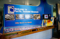 Signage at the entrance of the Pacific Tsunami Museum in downtown Hilo, Big Island of Hawai'i.