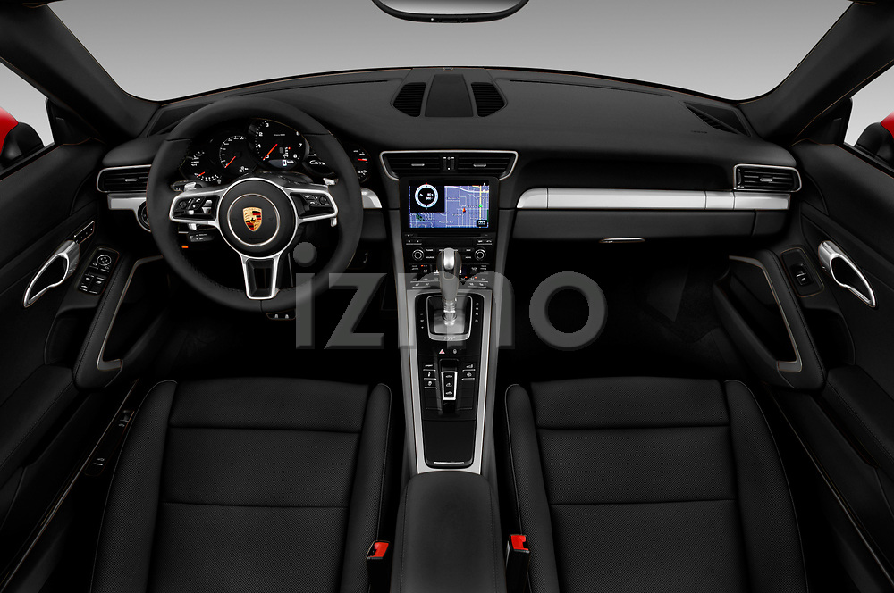 Stock photo of straight dashboard view of a 2017 Porsche 911 Carrera 2 Door Convertible