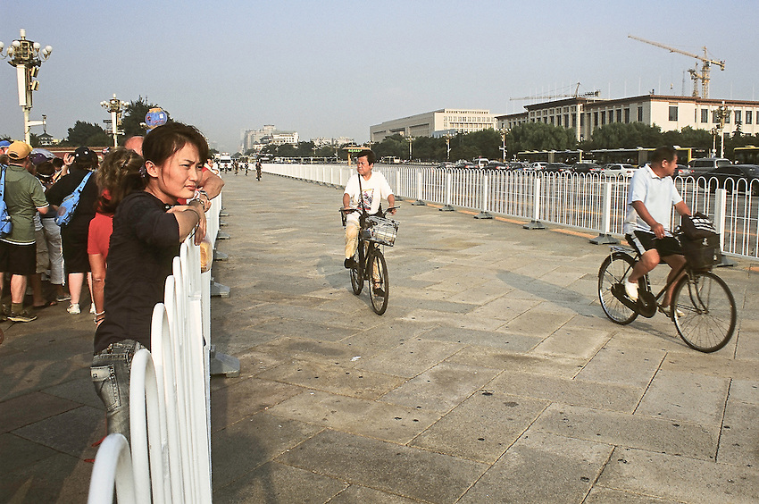 Chang'an avenue in front of Tiananmen square and the Forbidden City, a few days before the opening of olympic games 2008.