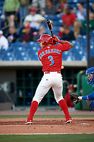 Clearwater Threshers third baseman Jan Hernandez (3) at bat during a game against the Dunedin Blue Jays on April 7, 2017 at Spectrum Field in Clearwater, Florida.  Dunedin defeated Clearwater 7-4.  (Mike Janes/Four Seam Images)